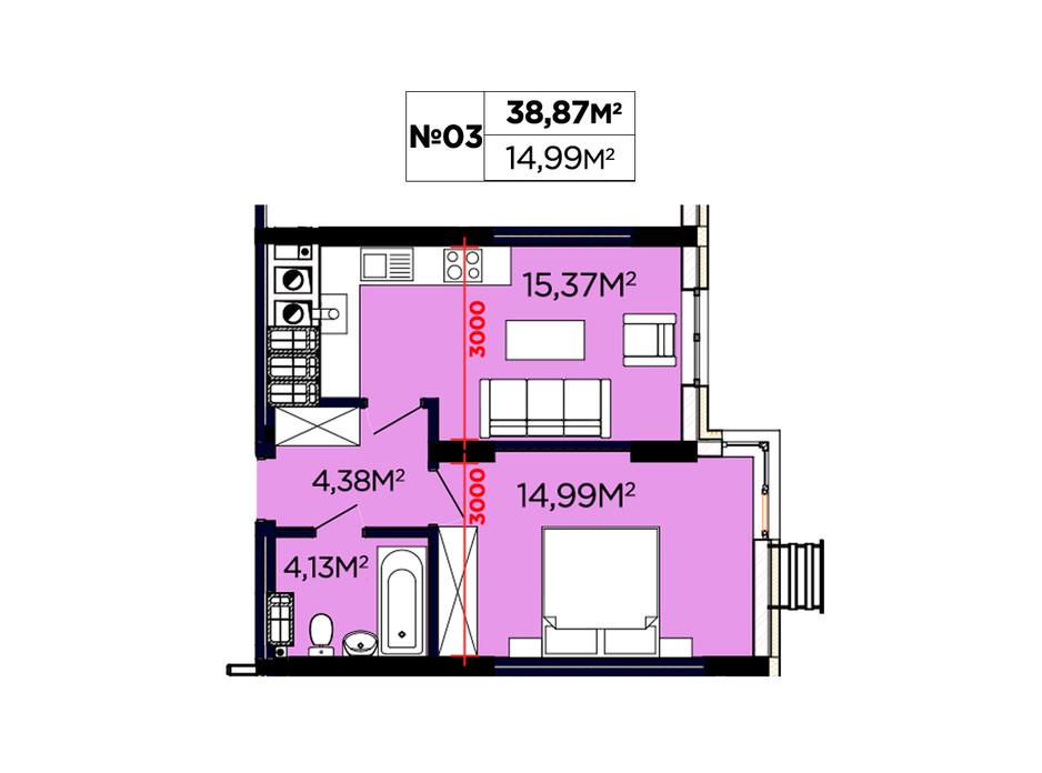 Планування 1-кімнатної квартири в ЖК Щасливий 38.87 м², фото 188084
