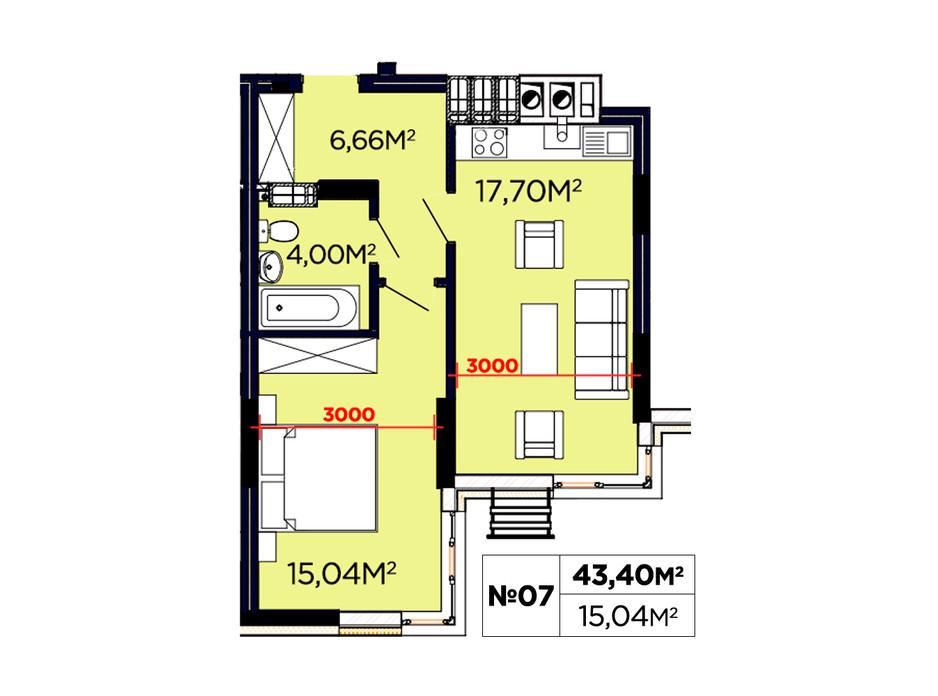 Планування 1-кімнатної квартири в ЖК Щасливий 43.04 м², фото 188088
