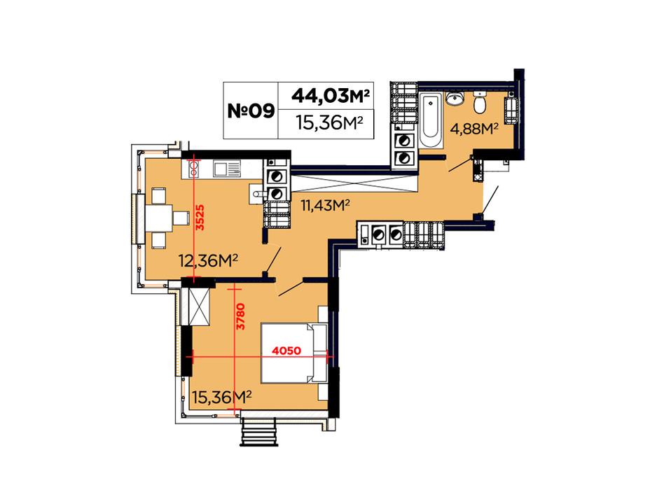 Планування 1-кімнатної квартири в ЖК Щасливий 44.03 м², фото 188089