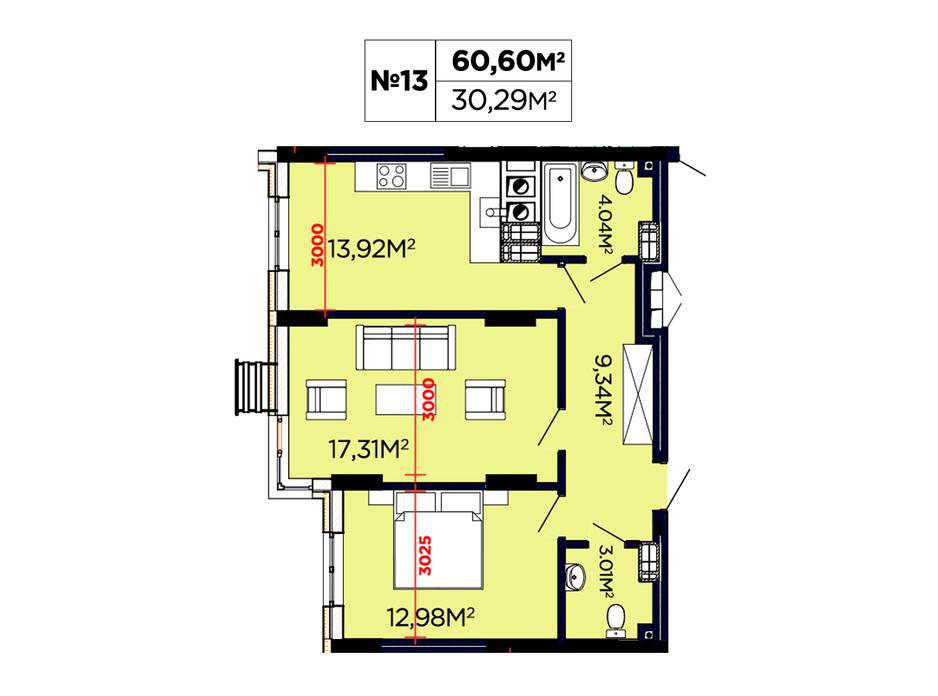 Планування 2-кімнатної квартири в ЖК Щасливий 60.6 м², фото 188091