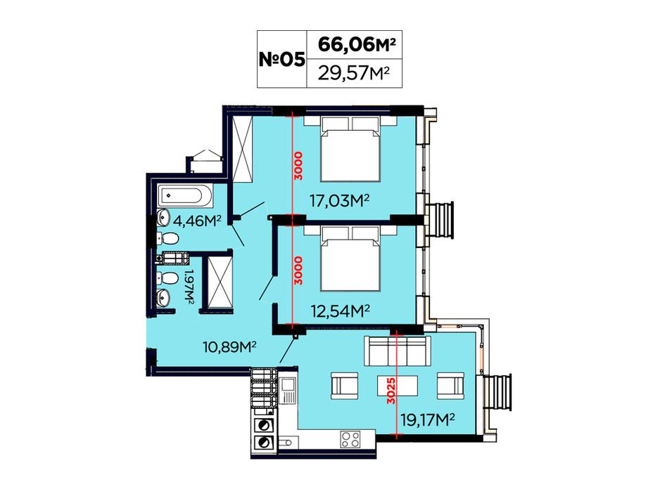 Планування 2-кімнатної квартири в ЖК Щасливий 66.06 м², фото 188094