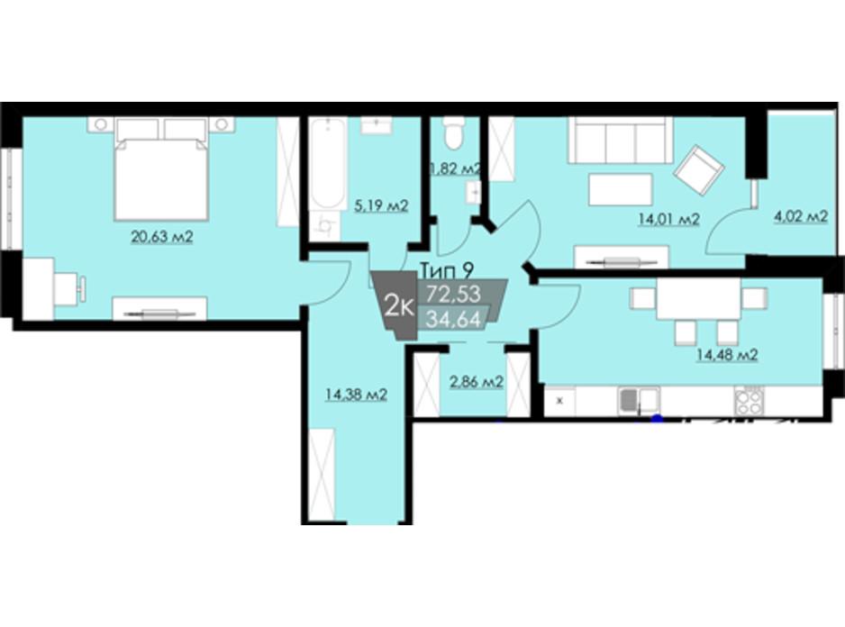 Планування 2-кімнатної квартири в ЖК Resident Hall 72.53 м², фото 188324