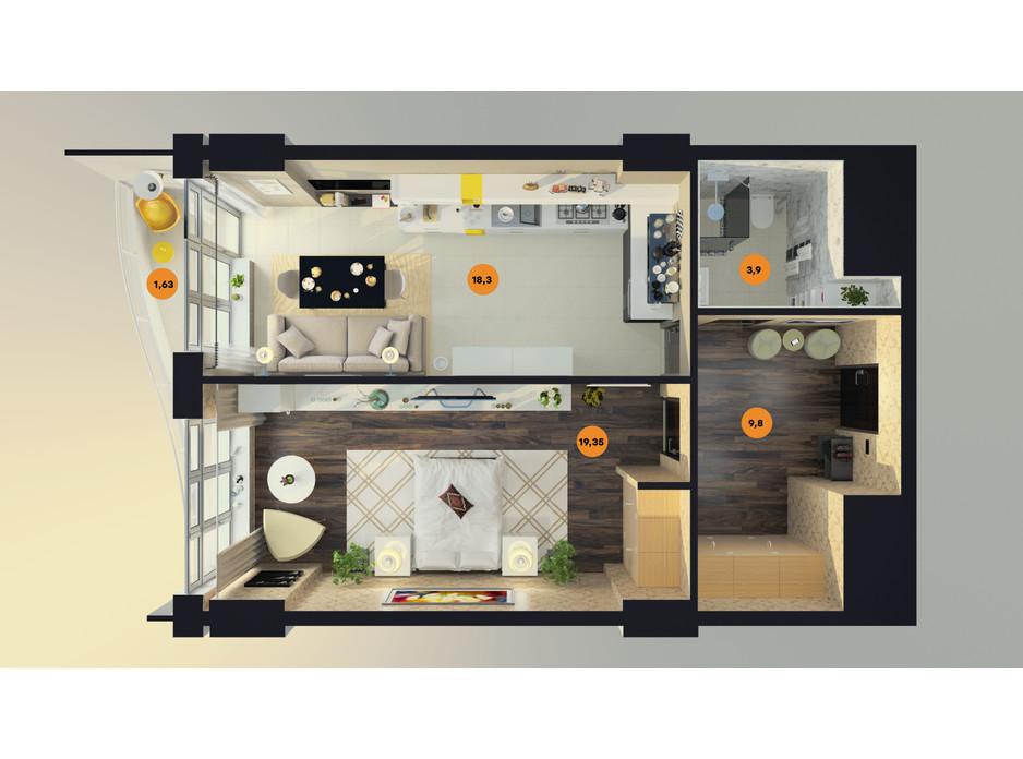 Планування 1-кімнатної квартири в ЖК Unity Towers (Юніті Тауерс) 54.09 м², фото 188356