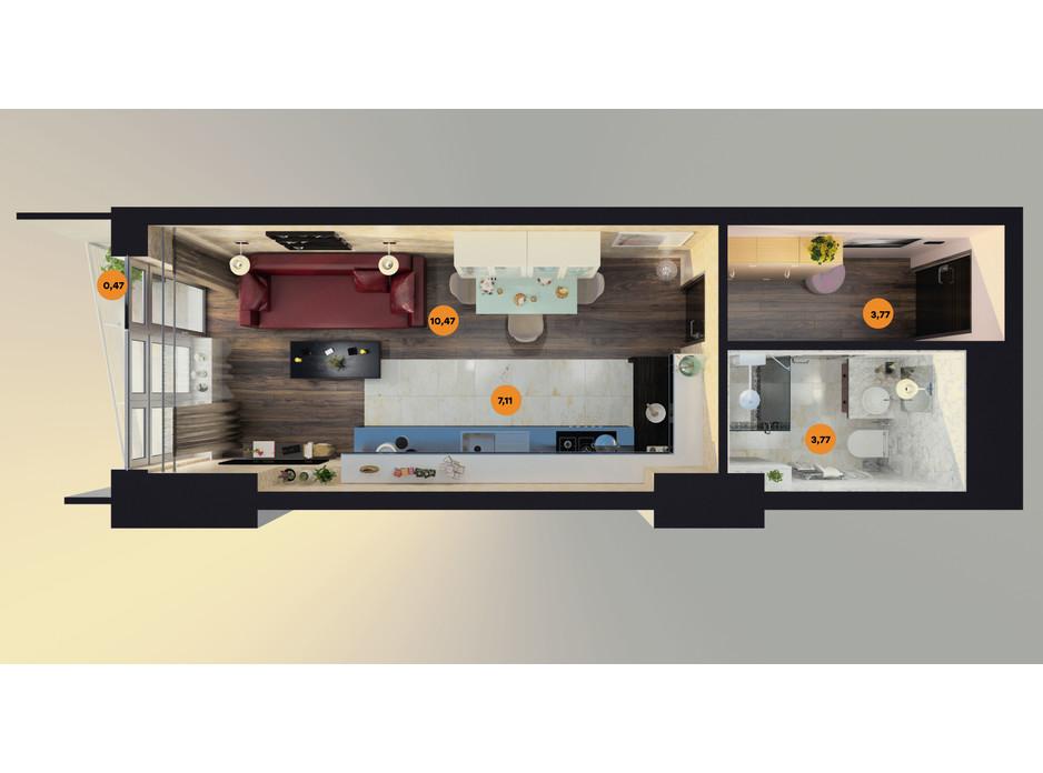 Планування смарт квартири в ЖК Unity Towers (Юніті Тауерс) 26.06 м², фото 188360