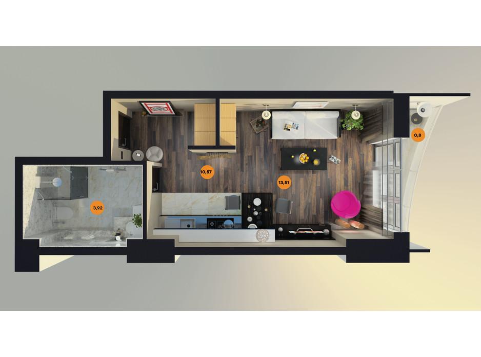 Планування квартири студії в ЖК Unity Towers (Юніті Тауерс) 30.4 м², фото 188361