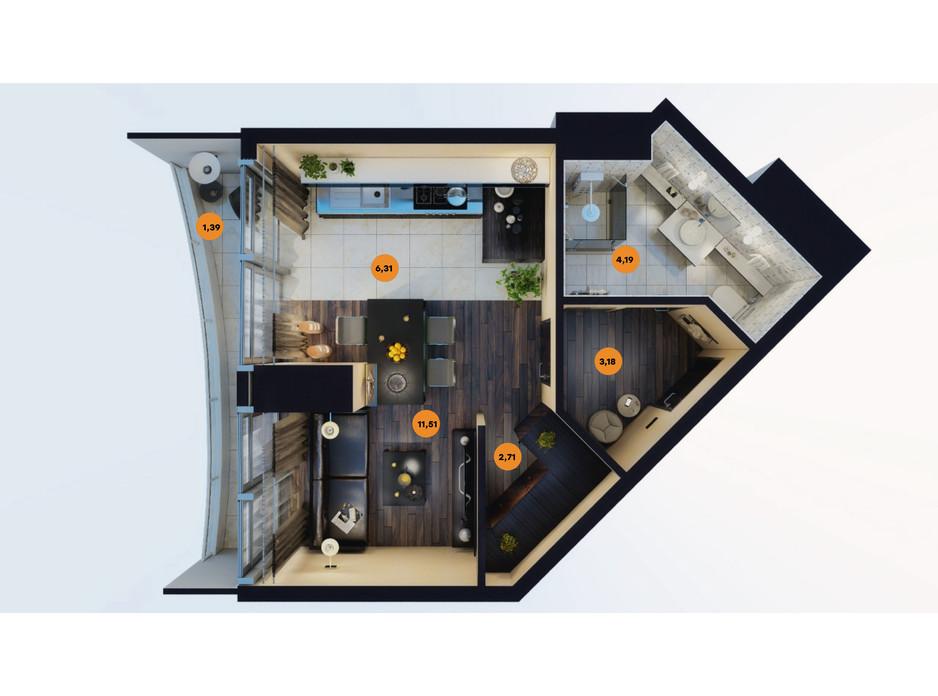 Планування квартири студії в ЖК Unity Towers (Юніті Тауерс) 30.47 м², фото 188362