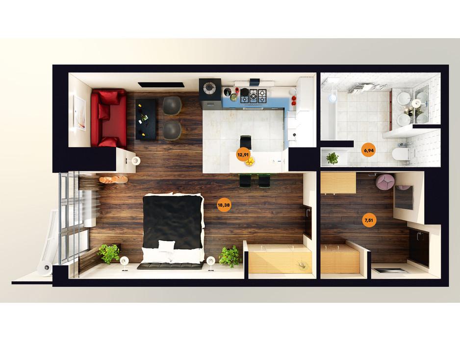 Планування квартири студії в ЖК Unity Towers (Юніті Тауерс) 46.55 м², фото 188363