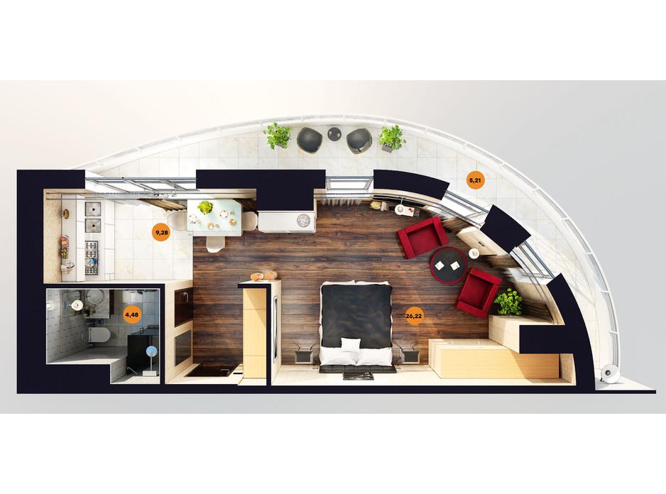 Планування квартири студії в ЖК Unity Towers (Юніті Тауерс) 44.59 м², фото 188364