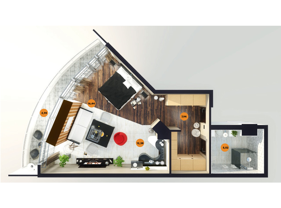 Планування квартири студії в ЖК Unity Towers (Юніті Тауерс) 44.99 м², фото 188365