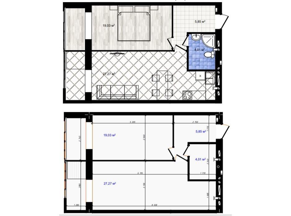 Планування 1-кімнатної квартири в ЖК Одеська Чайка 56.16 м², фото 188446