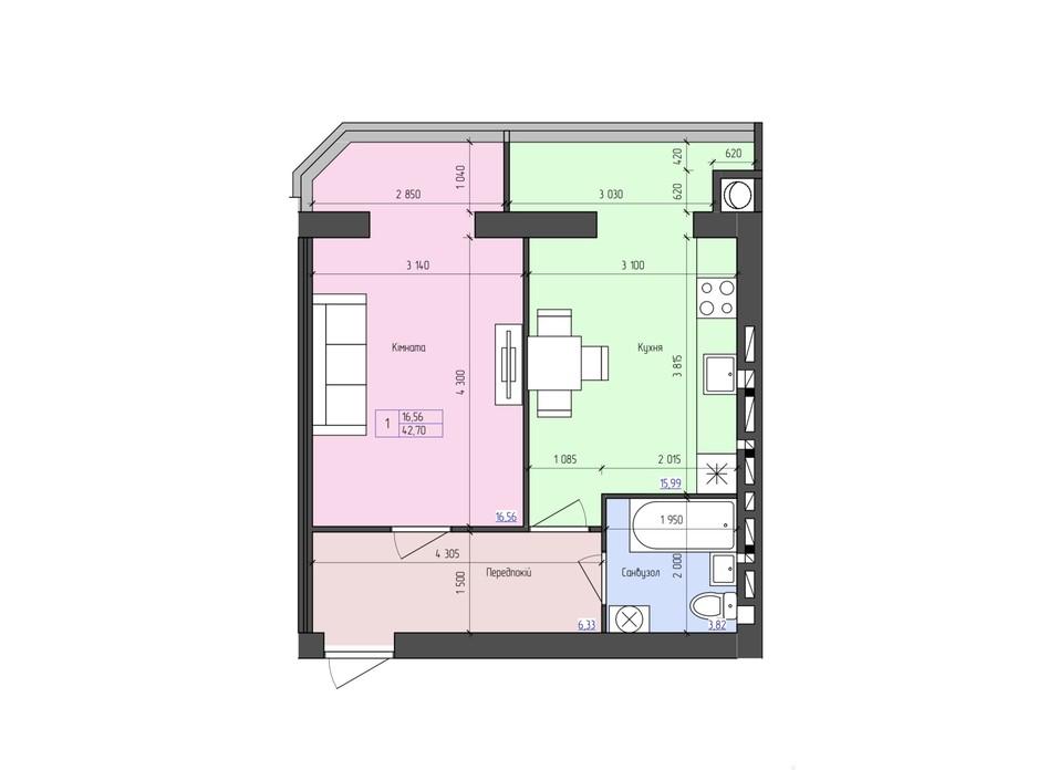Планировка 1-комнатной квартиры в ЖК Атлант 42.7 м², фото 188489