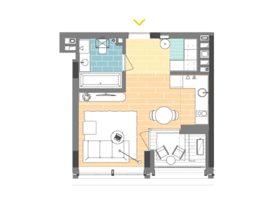 Планировка 1-комнатной квартиры в ЖК Unit.Home 30.1 м², фото 188867