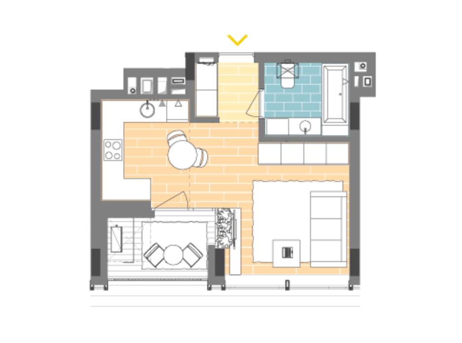 Планування 1-кімнатної квартири в ЖК Unit.Home 32.9 м², фото 188869