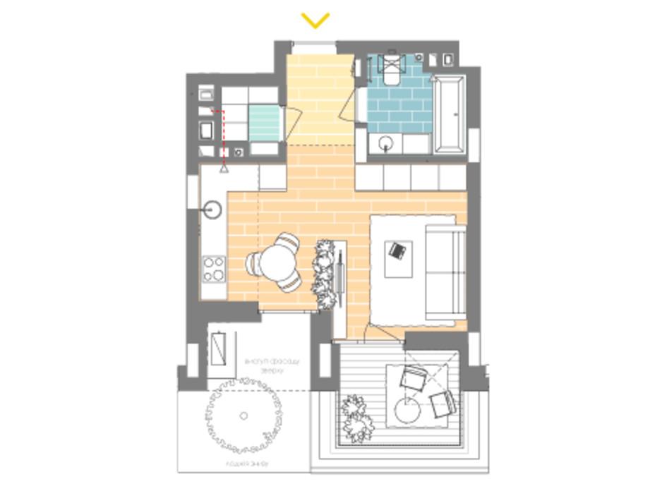 Планировка 1-комнатной квартиры в ЖК Unit.Home 33.8 м², фото 188870