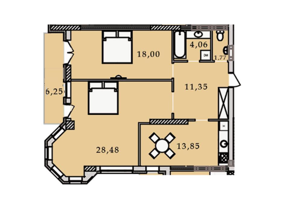Планировка 2-комнатной квартиры в ЖК Premier Tower 83.79 м², фото 188919
