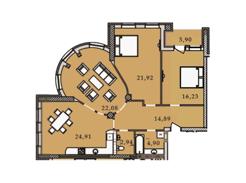 Планування 3-кімнатної квартири в ЖК Premier Tower 111.83 м², фото 188923