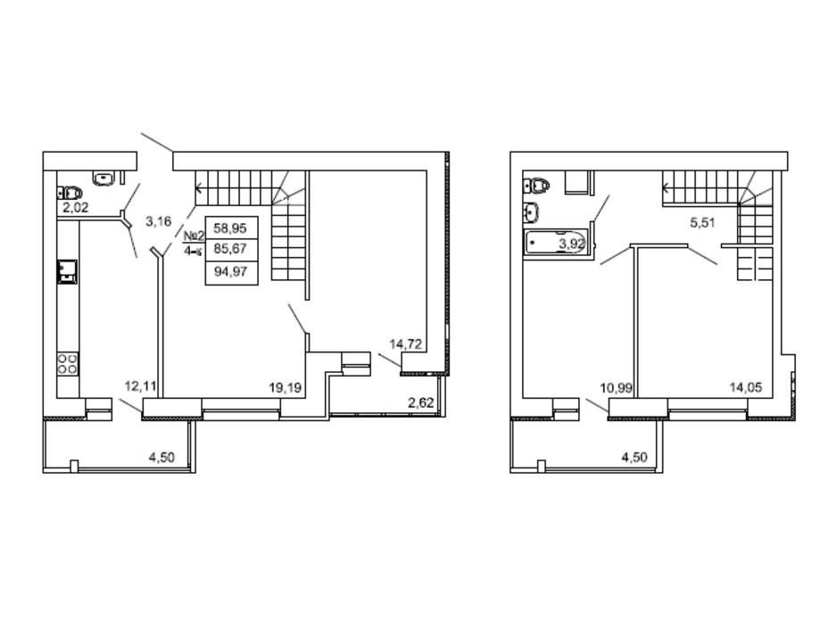Планировка многоуровневой квартиры в ЖК на Сенной 94.97 м², фото 189218