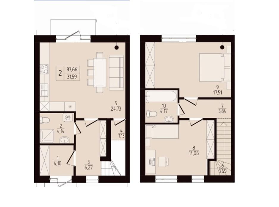 Планировка коттеджа в КГ Eurovillage 2 83 м², фото 189259