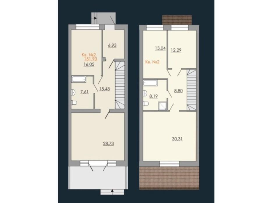 Планировка многоуровневой квартиры в Таунхаусы Европейский квартал 151.93 м², фото 190250