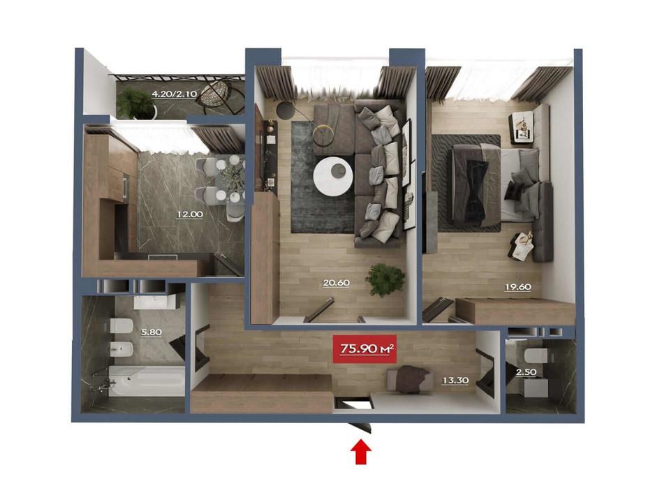 Планировка 2-комнатной квартиры в Микрорайон Звёздный 75.8 м², фото 190470