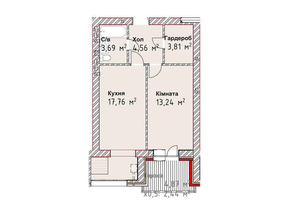 Планування 1-кімнатної квартири в ЖК Чайка Люкс 45.5 м², фото 190965