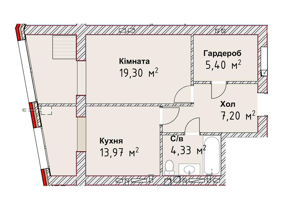 Планування 1-кімнатної квартири в ЖК Чайка Люкс 50.2 м², фото 190966