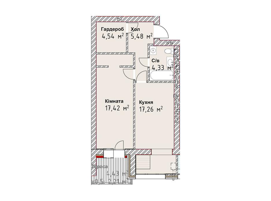 Планування 1-кімнатної квартири в ЖК Чайка Люкс 51.24 м², фото 190980