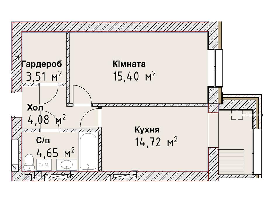 Планування 1-кімнатної квартири в ЖК Чайка Люкс 42.36 м², фото 190982