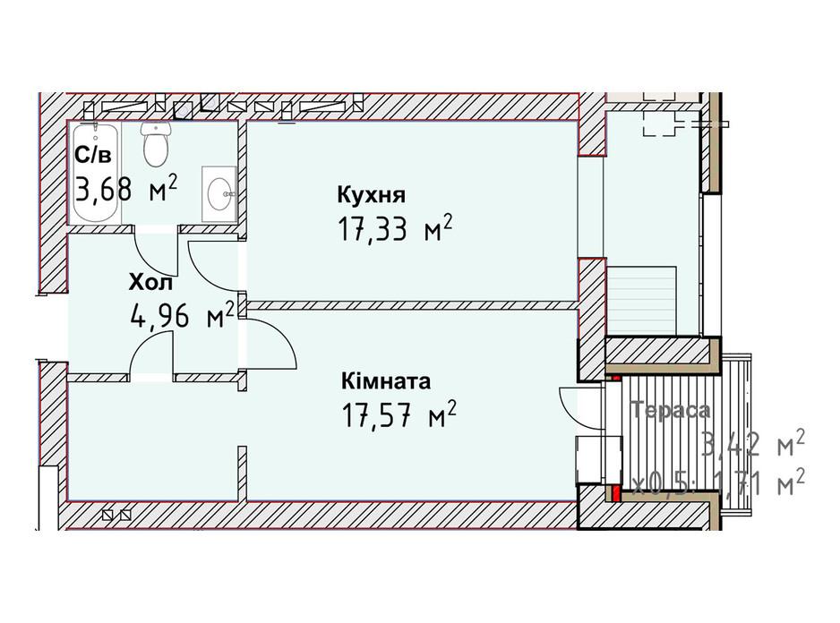 Планування 1-кімнатної квартири в ЖК Чайка Люкс 45.25 м², фото 190983