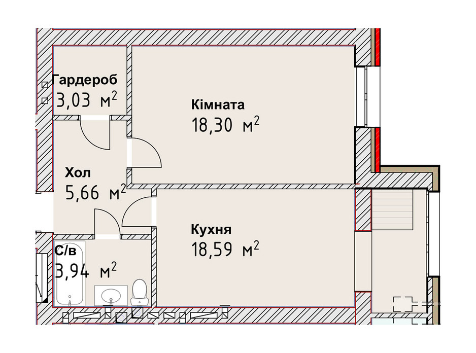 Планування 1-кімнатної квартири в ЖК Чайка Люкс 49.52 м², фото 190985