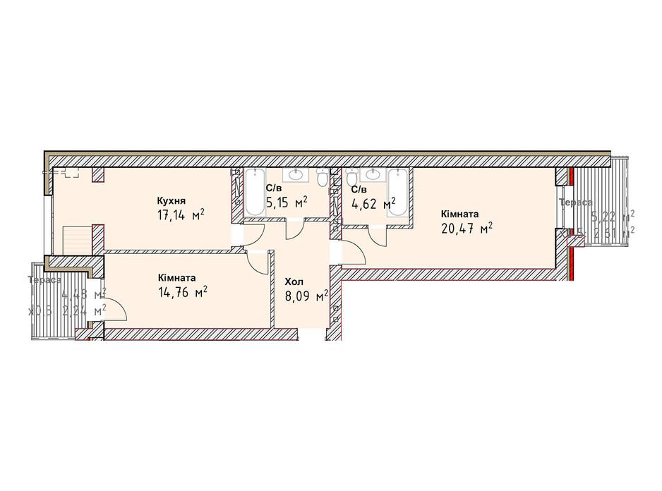 Планування 2-кімнатної квартири в ЖК Чайка Люкс 75.08 м², фото 190987
