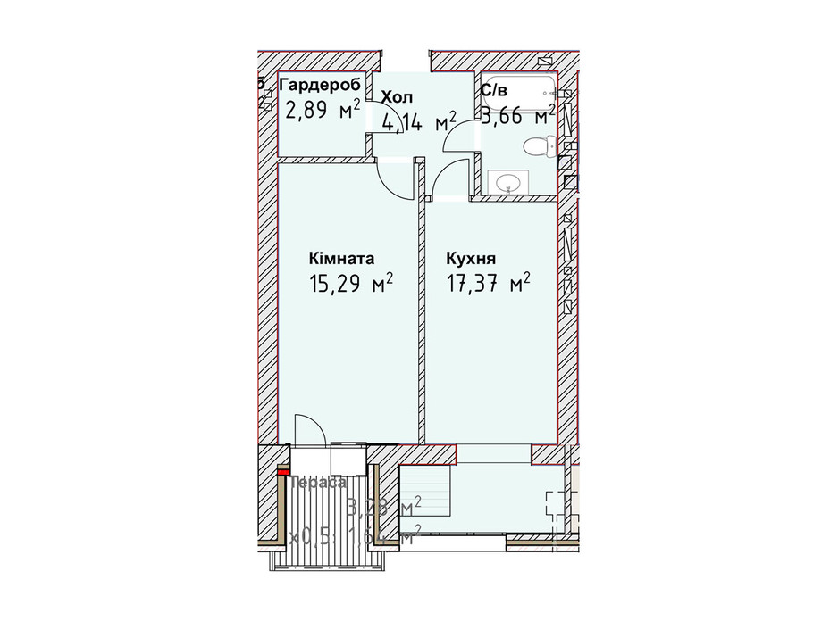 Планування 1-кімнатної квартири в ЖК Чайка Люкс 44.99 м², фото 190991