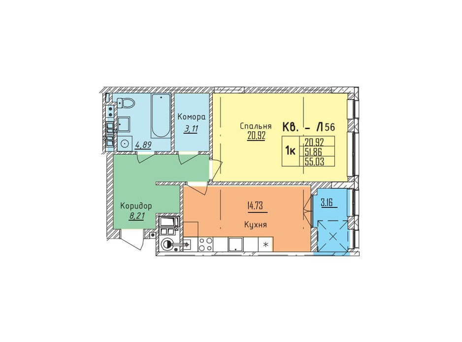 Планировка 1-комнатной квартиры в ЖК Стрыйская-Научная ІІІ 55.03 м², фото 191021