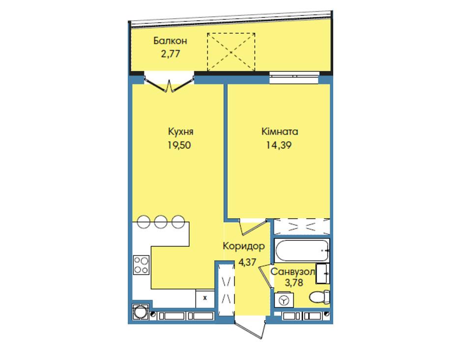 Планировка 1-комнатной квартиры в ЖК Washington City 44.81 м², фото 191059