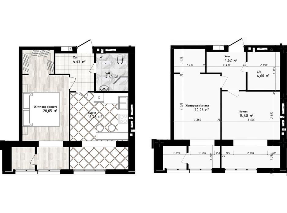 Планування 1-кімнатної квартири в ЖК Sea Town 45.75 м², фото 191212