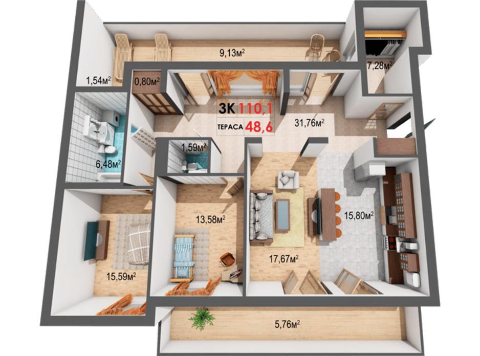 Планування 3-кімнатної квартири в ЖК Квартал Віденський 110.1 м², фото 191409