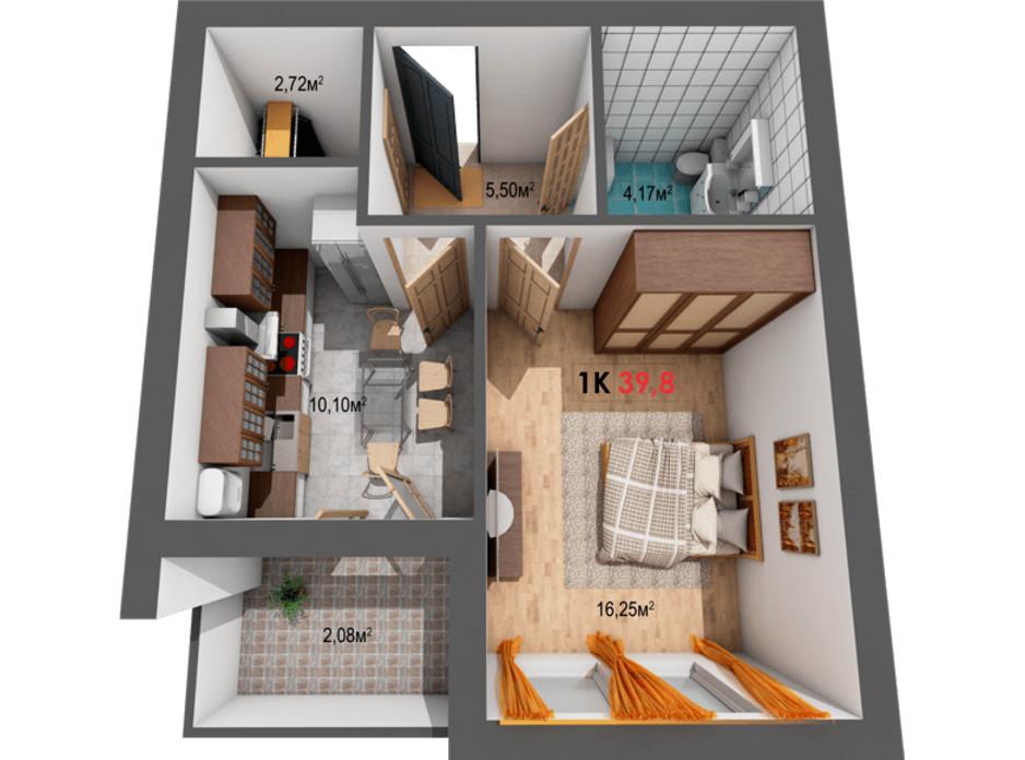 Планування 1-кімнатної квартири в ЖК Квартал Віденський 39.8 м², фото 191419