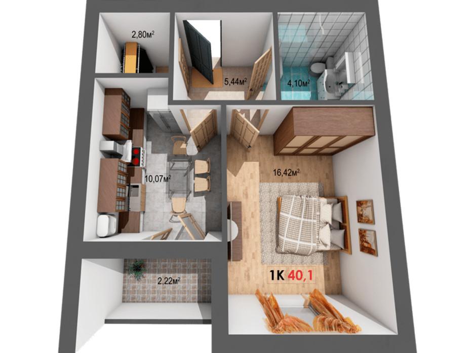 Планування 1-кімнатної квартири в ЖК Квартал Віденський 40.1 м², фото 191420