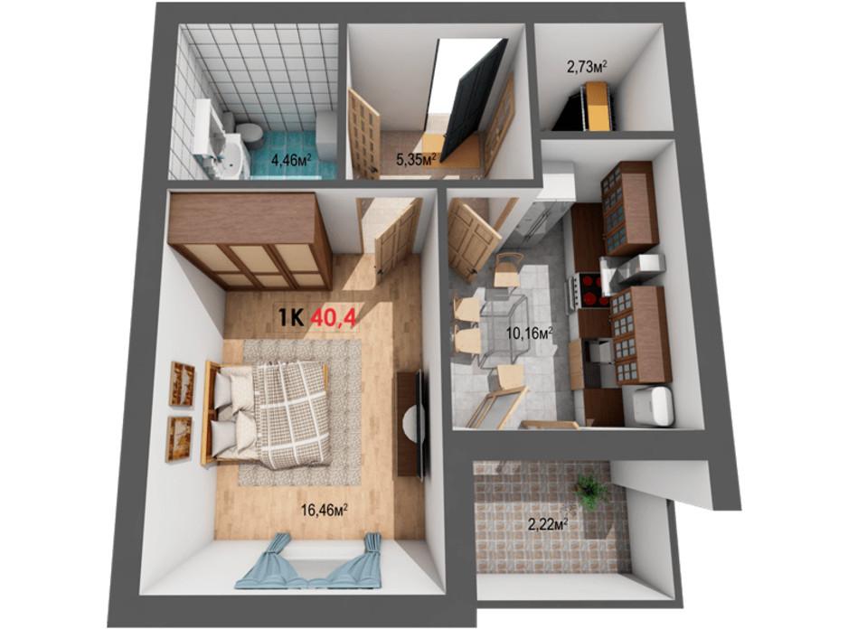 Планування 1-кімнатної квартири в ЖК Квартал Віденський 40.4 м², фото 191421