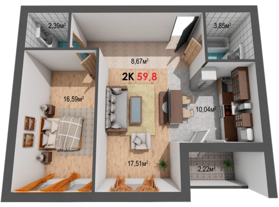 Планування 2-кімнатної квартири в ЖК Квартал Віденський 59.8 м², фото 191422