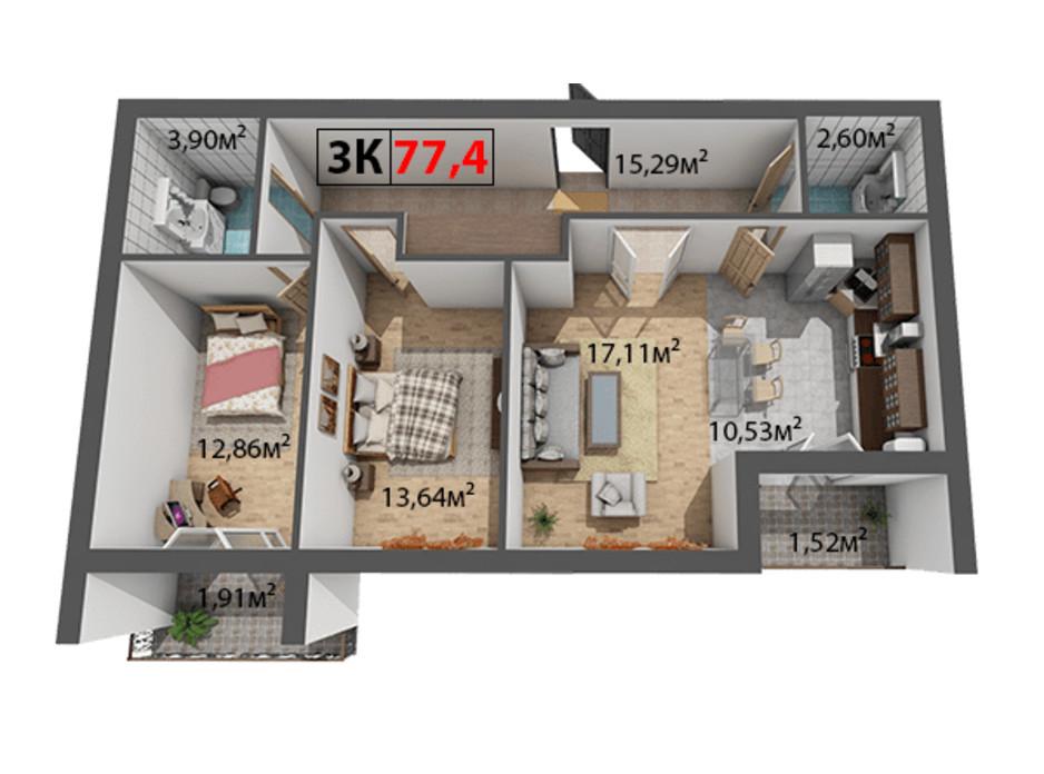 Планування 3-кімнатної квартири в ЖК Квартал Віденський 77.4 м², фото 191441