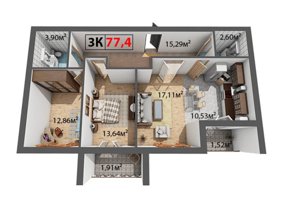 Планування 3-кімнатної квартири в ЖК Квартал Віденський 77.4 м², фото 191442