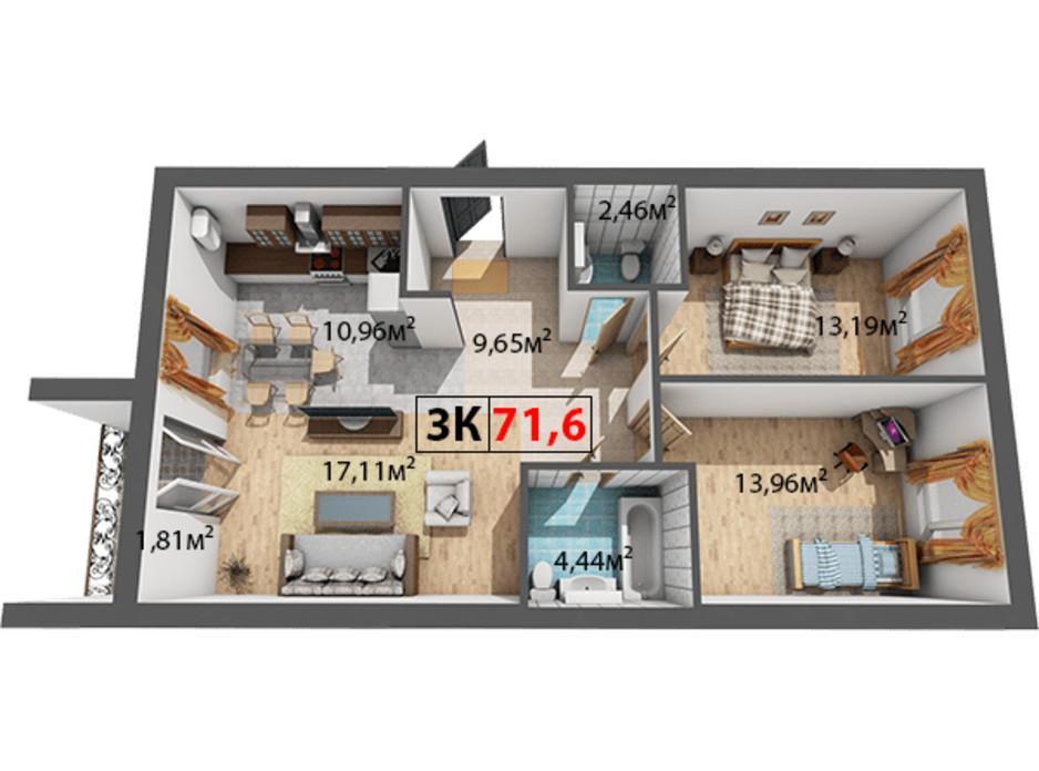 Планування 3-кімнатної квартири в ЖК Квартал Віденський 71.6 м², фото 191449