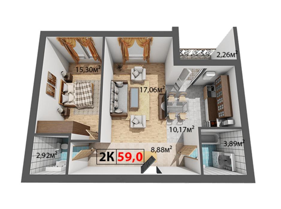 Планування 2-кімнатної квартири в ЖК Квартал Віденський 59 м², фото 191450