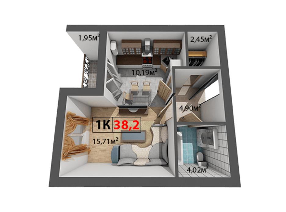 Планування 1-кімнатної квартири в ЖК Квартал Віденський 38.2 м², фото 191452