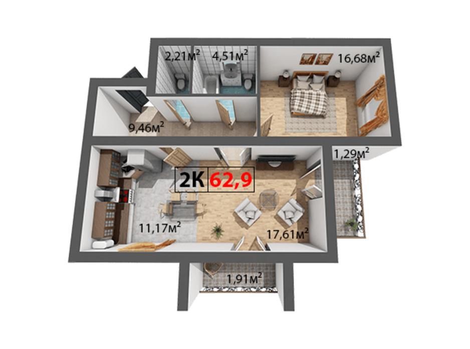Планування 2-кімнатної квартири в ЖК Квартал Віденський 62.8 м², фото 191455
