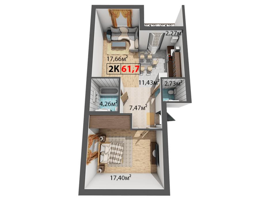 Планування 2-кімнатної квартири в ЖК Квартал Віденський 61.7 м², фото 191459
