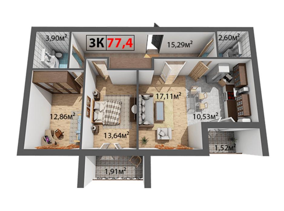 Планування 3-кімнатної квартири в ЖК Квартал Віденський 77.4 м², фото 191460
