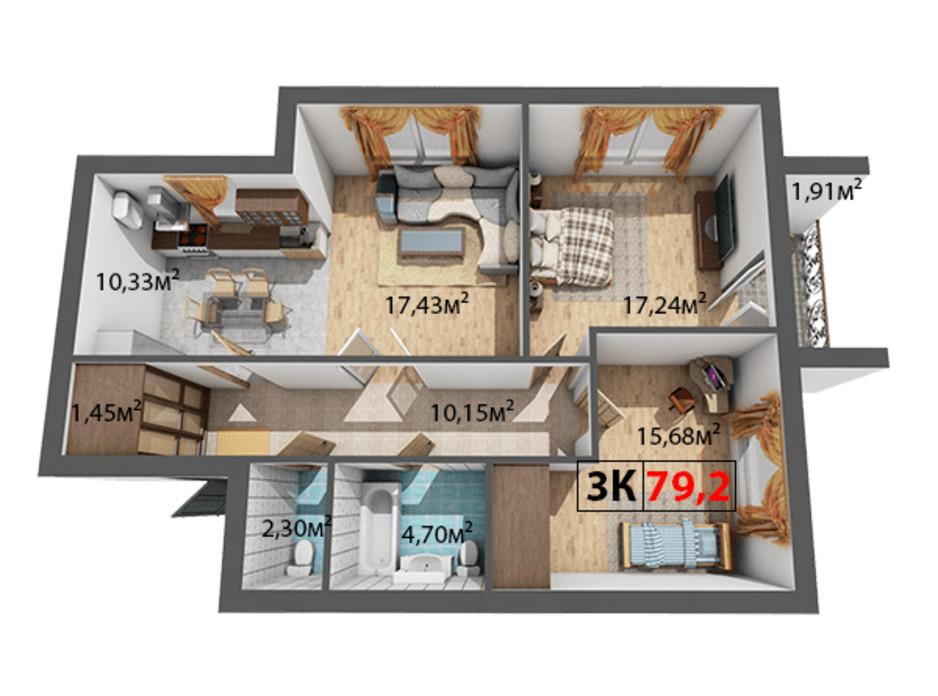 Планування 3-кімнатної квартири в ЖК Квартал Віденський 79.2 м², фото 191462