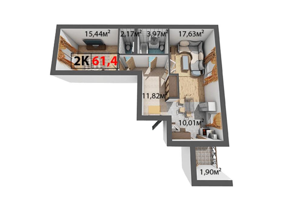 Планування 2-кімнатної квартири в ЖК Квартал Віденський 61.4 м², фото 191464